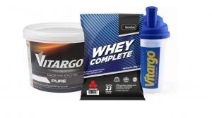 Vitargo Pure 2 kg och Whey complete päron/vanilj + shaker